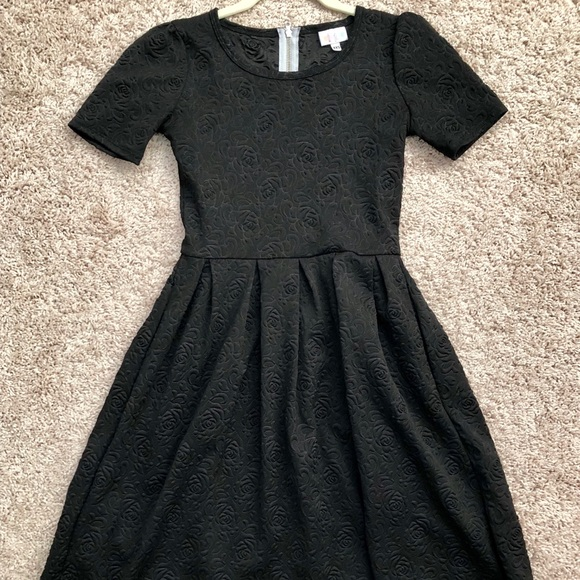 53b36e024c45 LuLaRoe Dresses | Black Amelia Dress Floral Embossed Pattern | Poshmark